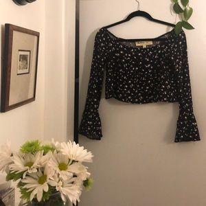 Black off the shoulder cropped bell sleeve blouse